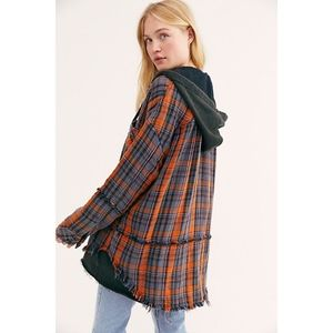 Free People Calico Basin Plaid Buttondown M NWT